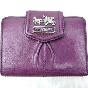 Coach Purple Leather Metal Bifold Wallet